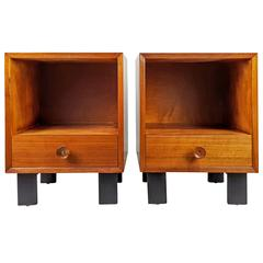 Classic Mid-Century Nightstands with Biscuit Pulls by George Nelson, 1950s