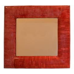 Andrianna Shamaris Red Coral Mirror with Bevelled Frame