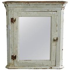 Hanging Corner Cabinet with Mirror and Weathered Patina