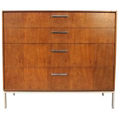 Rosewood and Chrome Four Drawer Dresser