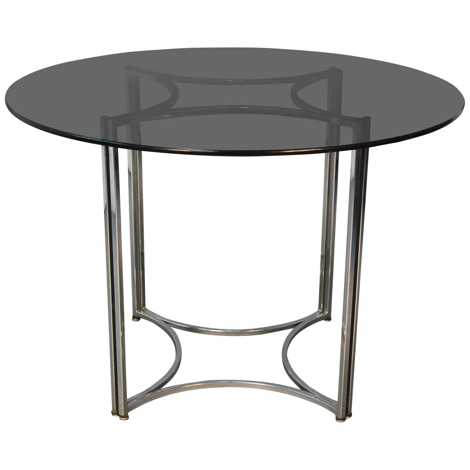 Smoked Glass Top Thin Chrome Dinette Table At 1stdibs