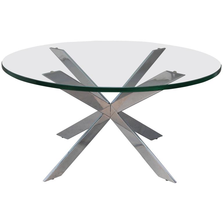 Leon Rosen for Pace Chrome Star X Base Coffee Table at 1stdibs