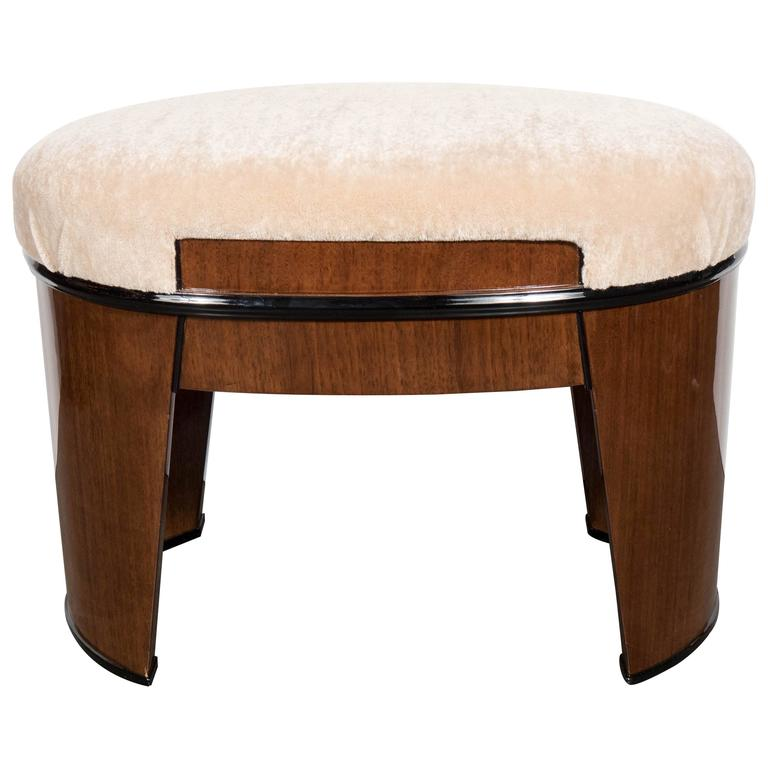 Art Deco Streamlined Stool/Bench in the Style of Donald Deskey in Camel Mohair