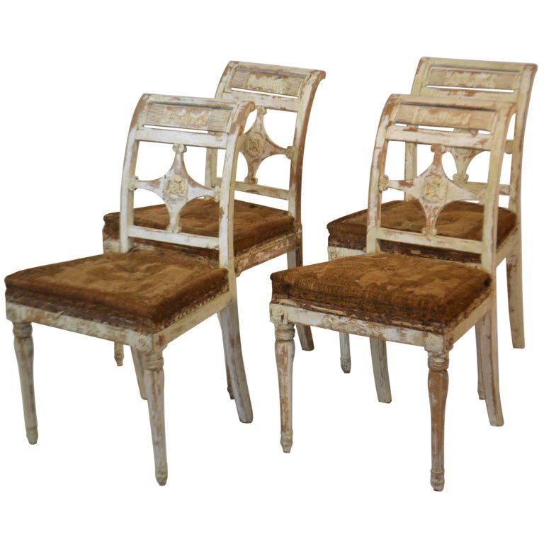 Four Painted Swedish Chairs For Sale
