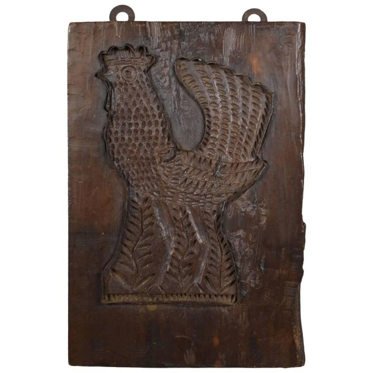 Wooden and tin folk art sculpture of a rooster is no longer available - 19th Century Wooden Gingerbread Mold At 1stdibs