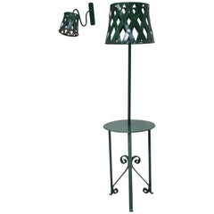 Green Painted Iron Floor Lamp and Four Sconces, France, 1950s
