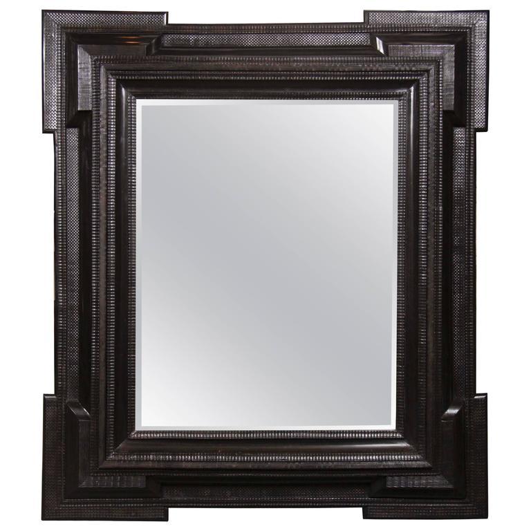 Monumental 19th Century Dutch Ebonized Black Crossetted Corner Framed Mirror For Sale