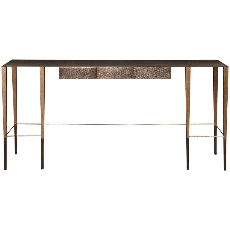 """Singha"" Hand-Hammered Bronze Console Table by Aurelien Gallet For Sale"