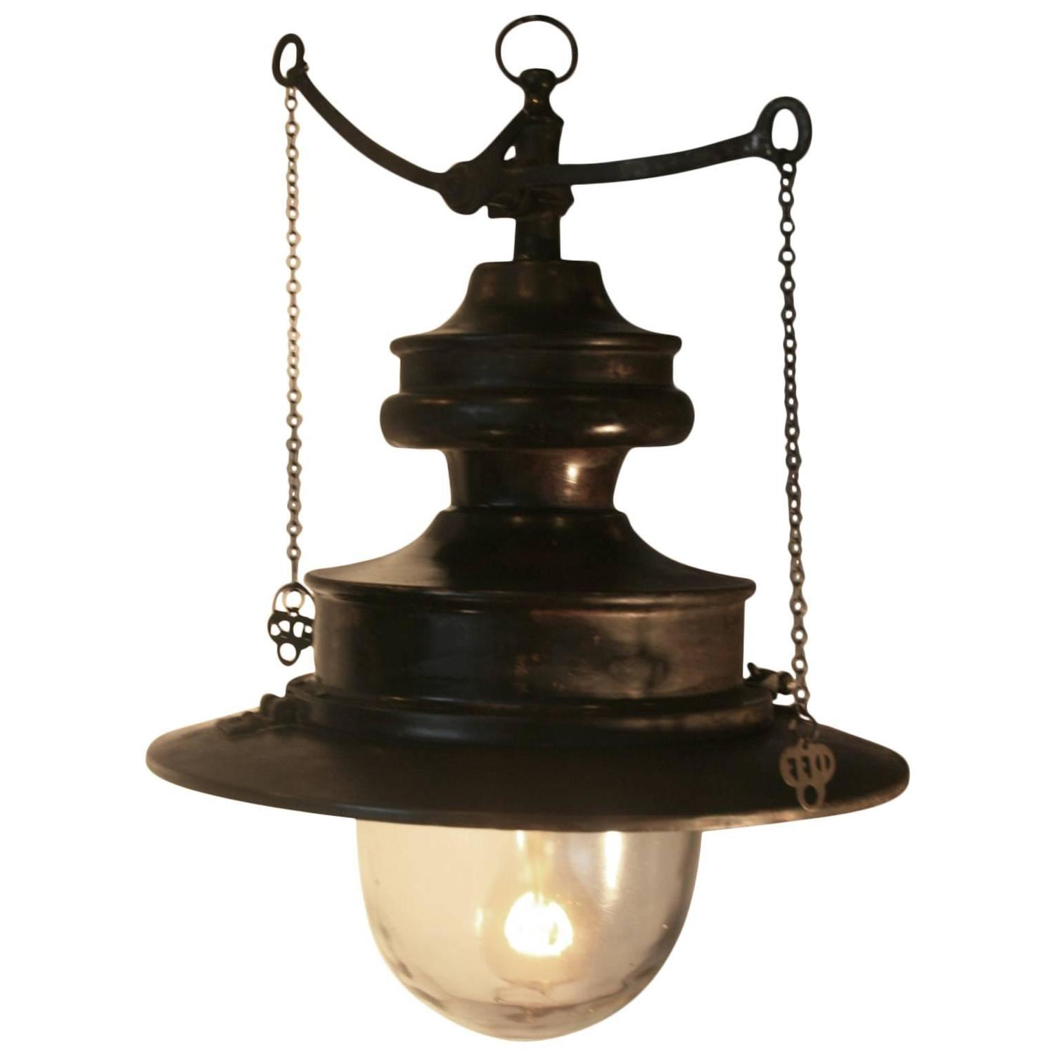 Large And Rare Pre-Electric Industrial Gas Light At 1stdibs