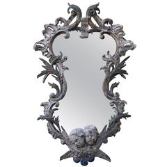 19th Century Carved Painted Mirror with Cherubs