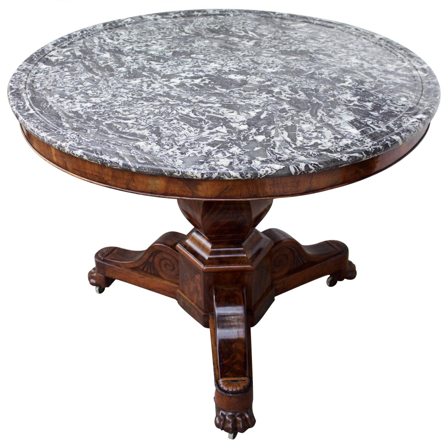 French louis xviii period large marble top gueridon table for Table gueridon
