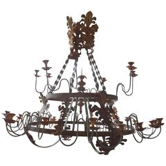 "Monumental Italian Wrought Iron, Thirty-Two-Light Chandelier 72"" D"