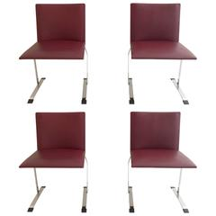 Set of Four Saporiti Chairs with Leather Seats