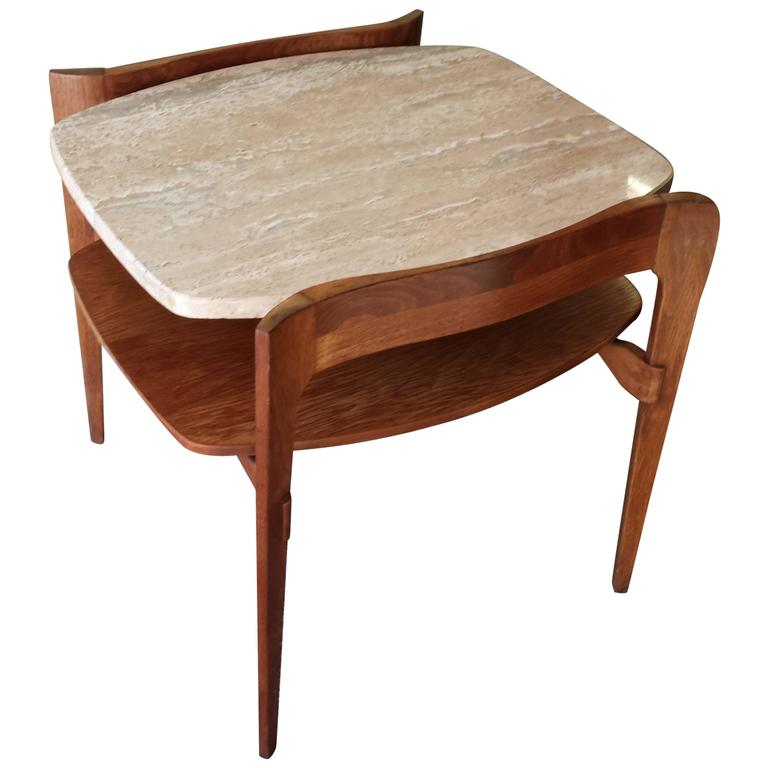 Mid Century Modern Walnut Travertine Coffee Table: Mid Century Italian Modern Side Table By Bertha Schaefer