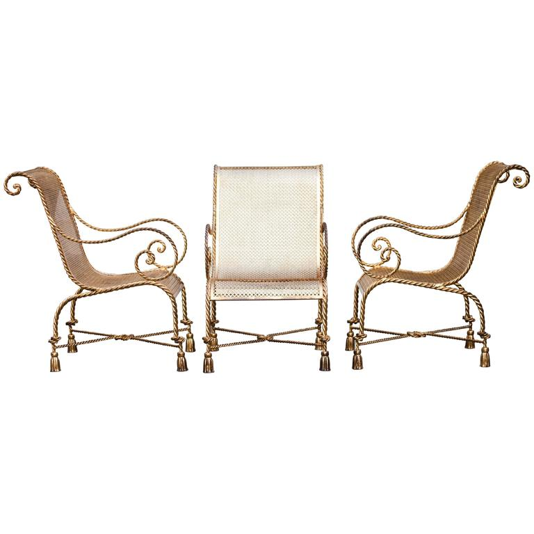 Nice Hollywood Regency Italian Gilt Iron Tassel And Rope Chair Set For Sale