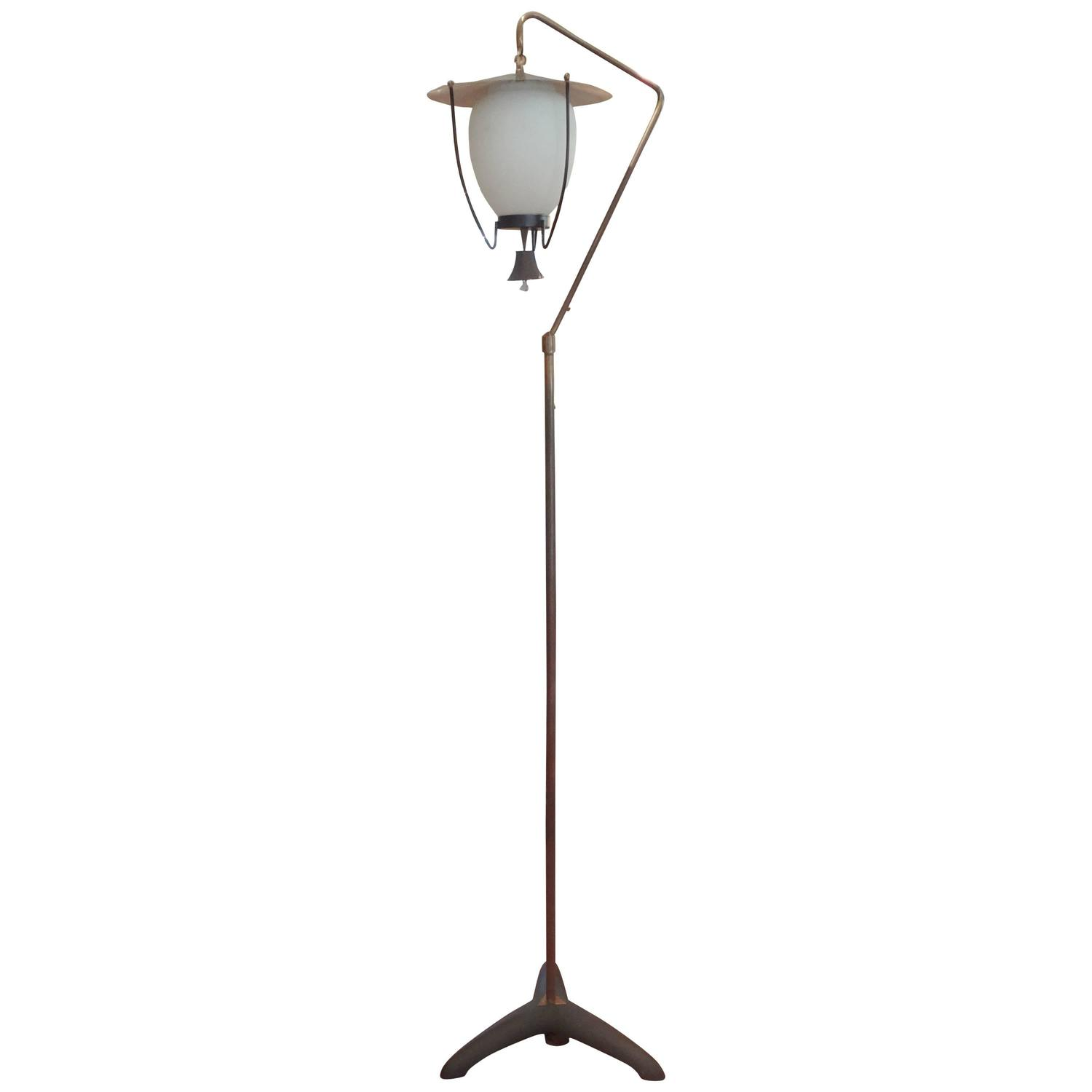 Mid century modern italian stilnovo style iron and brass for Milan floor lamp antique brass 165cm