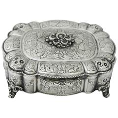 Incredible Large Silver Footed Box, Italy, circa 1935 SUPERBLY ETCHED