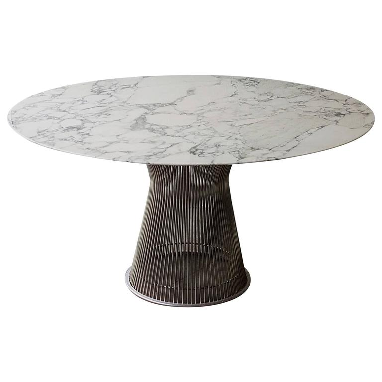 Wonderful Warren Platner For Knoll Arabescato Marble Top Dining Table For Sale