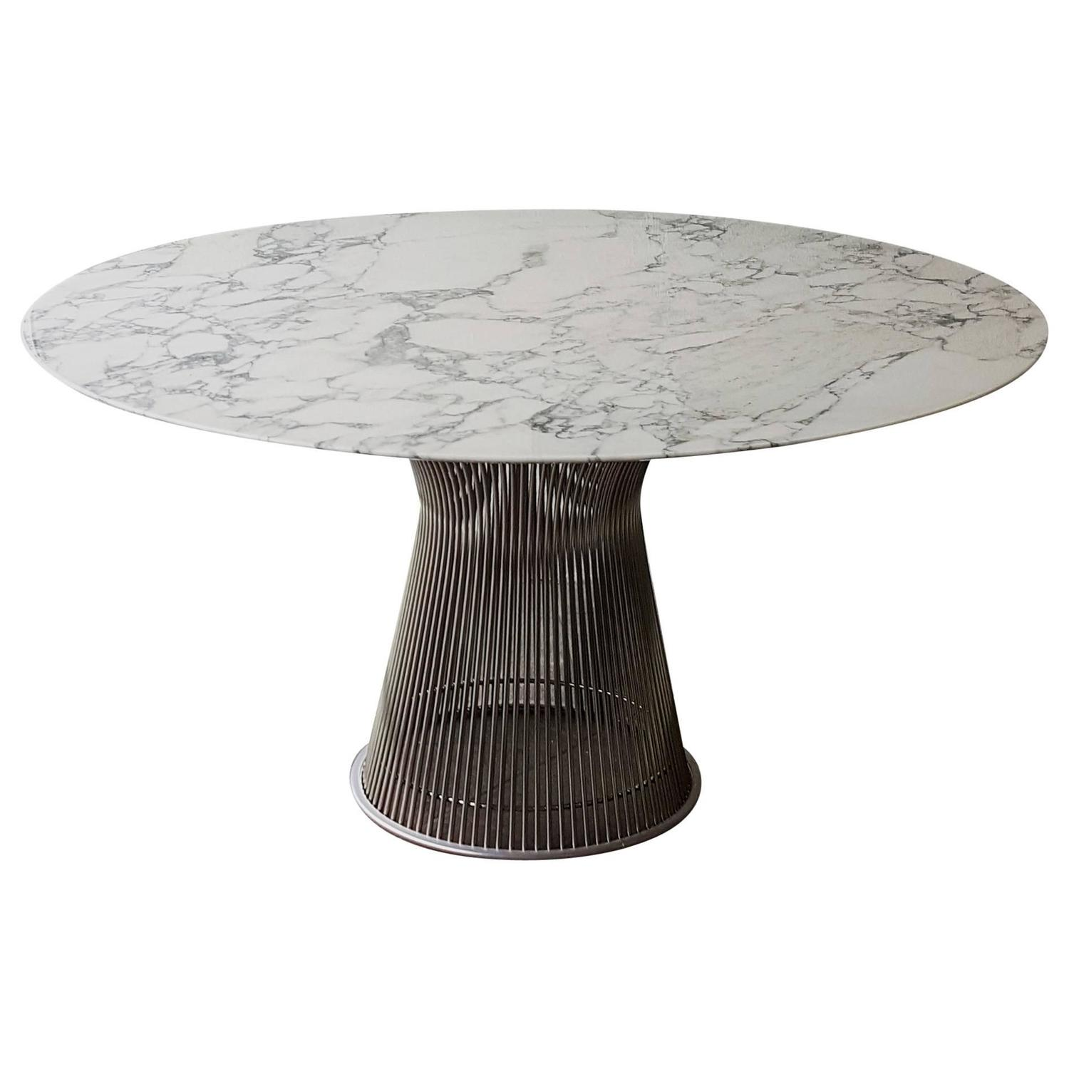 Warren platner for knoll arabescato marble top dining for Table warren platner