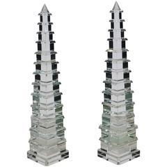 Pair of Cut Crystal Pagoda Form Obelisks