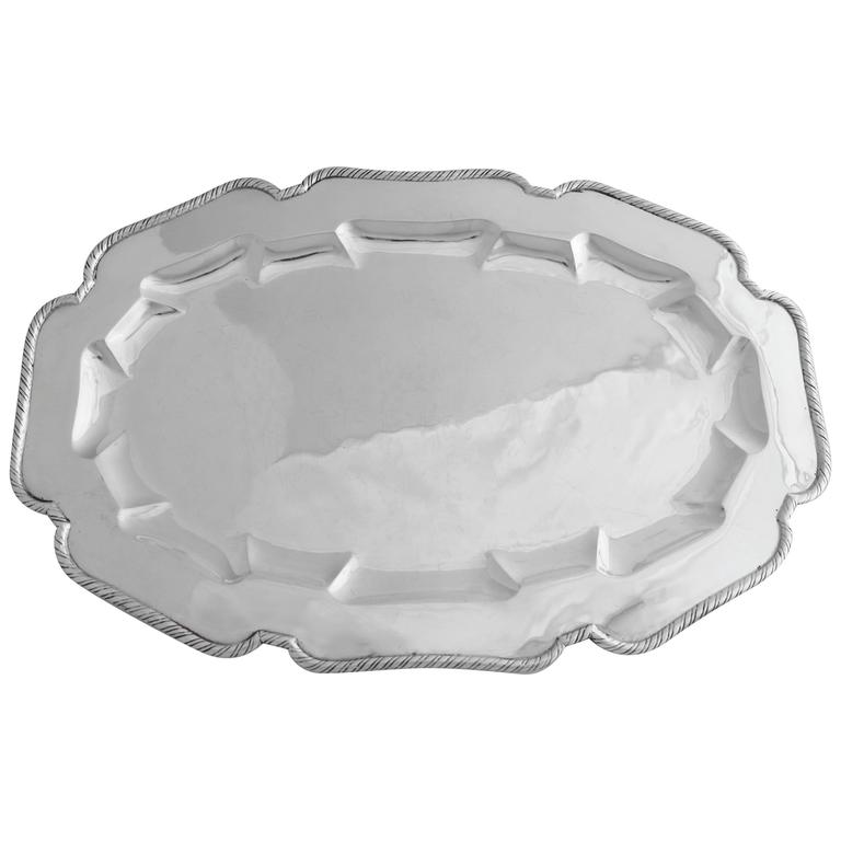 Large William Spratling Large Hand-Wrought Sterling Silver Tray, Patter 1940