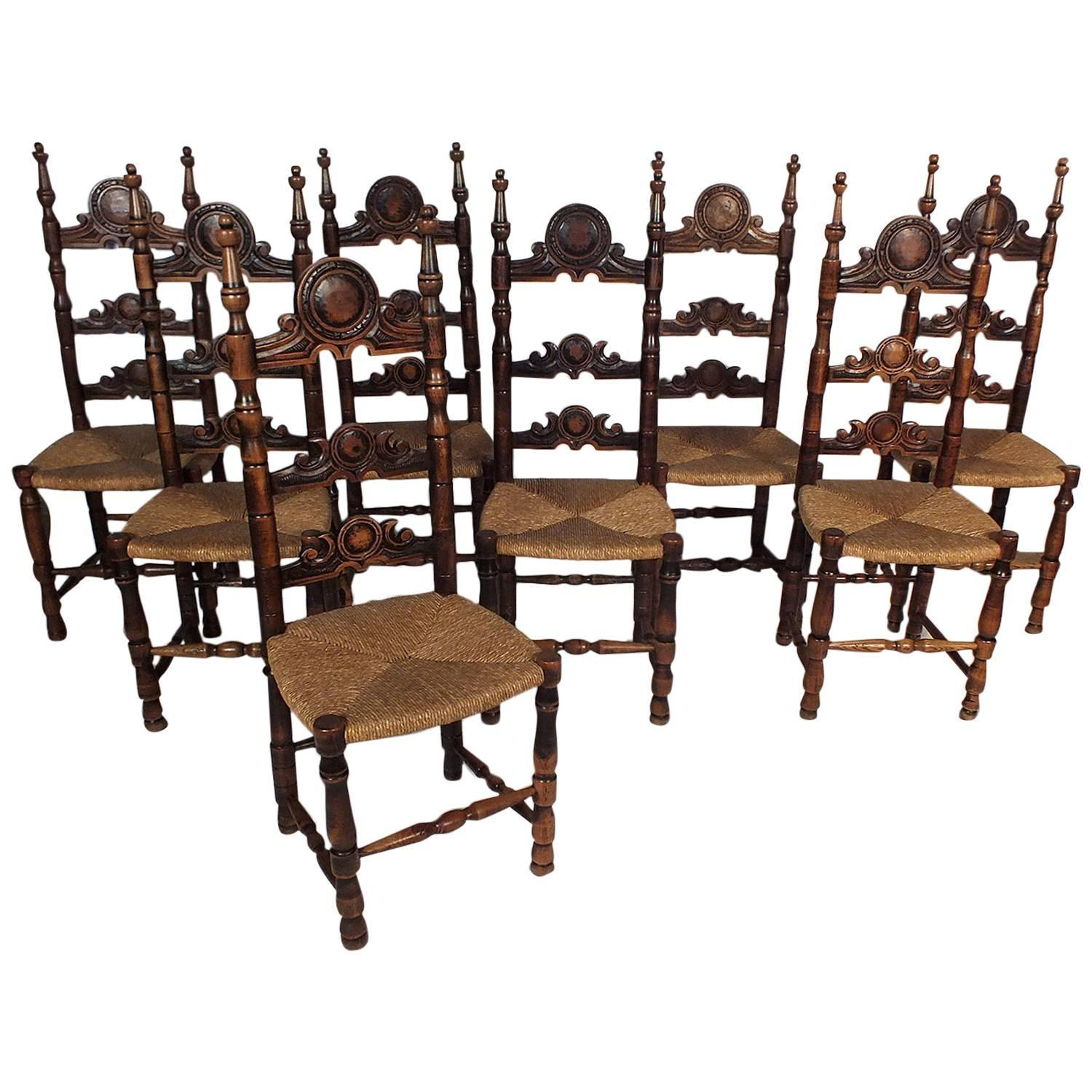 Set of 8 french walnut wood rush seat dining chairs at 1stdibs