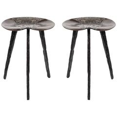 Pair of Bronze Stools in the Manner of Claude Lalanne