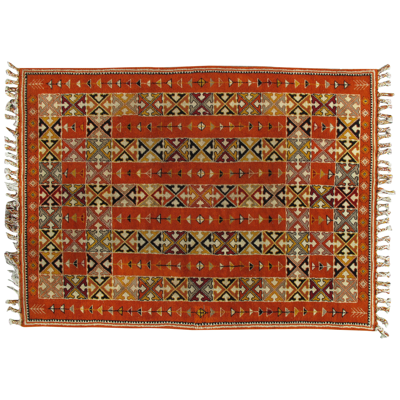 Vintage Moroccan Carpet, Colorful Handmade Rug, Coral, Brown, Tan 88X12