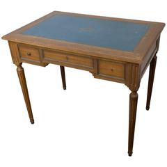 Small Mahogany Writing Desk with Blue Green Leather Top