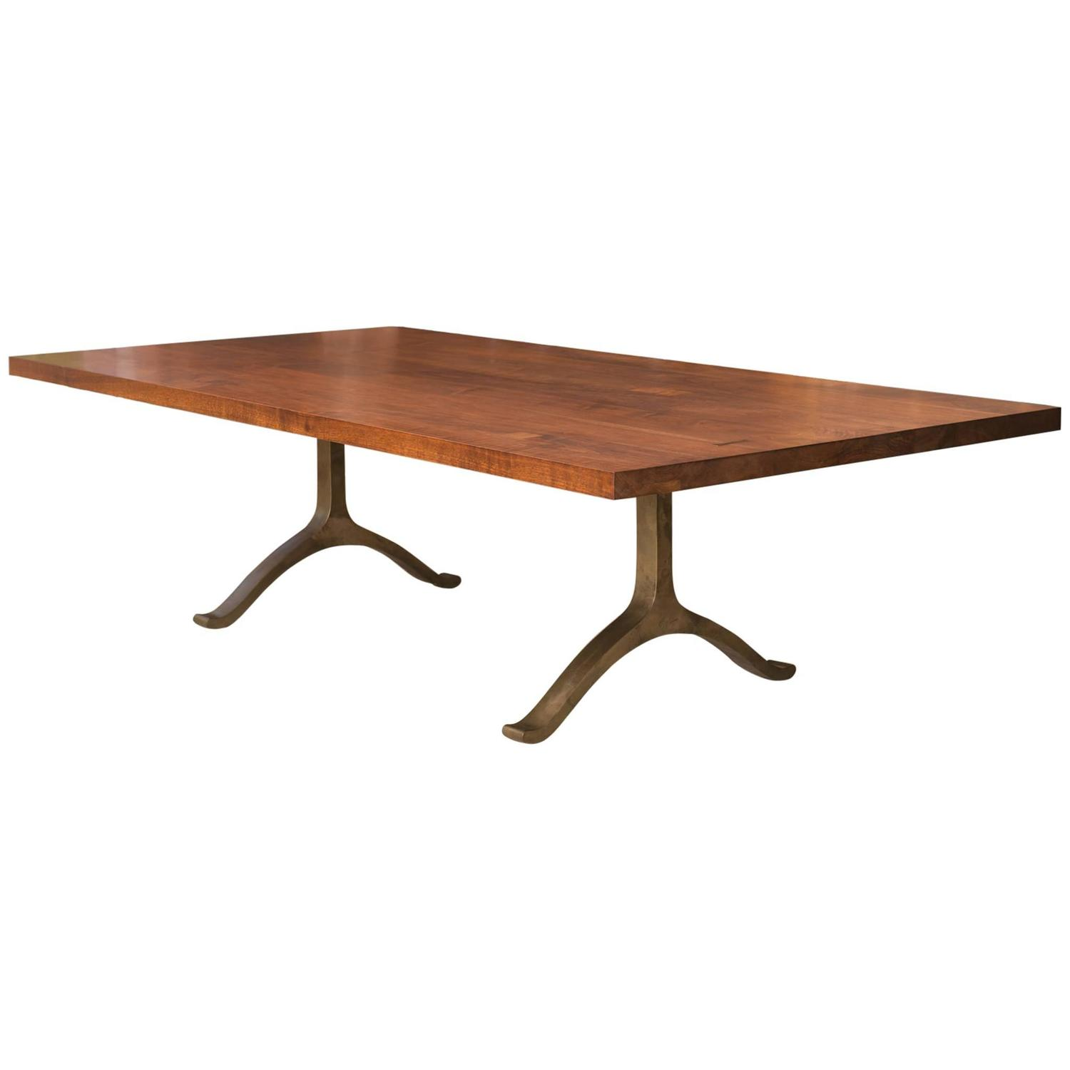 Claro walnut and bronze dining table by bddw at stdibs