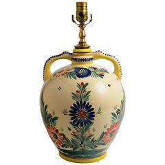 H.B. Quimper Two-Handled Jar, Signed