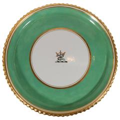 A Worcester Cake Plate with the Armorial Crest of the Family of Crosbie