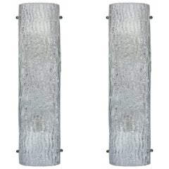 Pair of Large Mid-Century Italian Glass Sconces with a Textured Wave Pattern