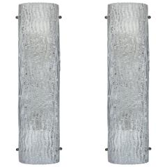 Pair of Large Textured Italian Glass Sconces