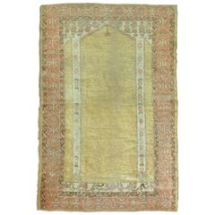 Angora Oushak Rug with Double Column Prayer Motif