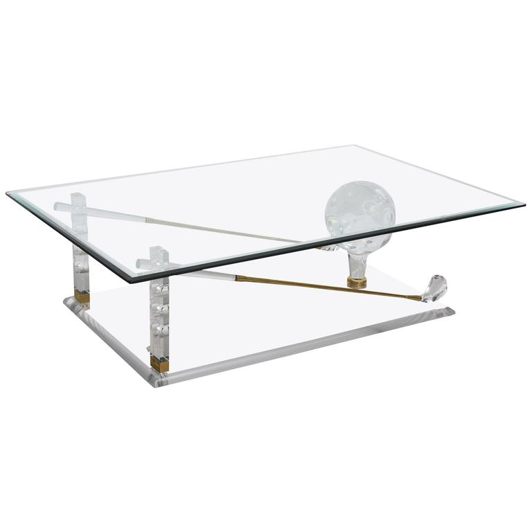 Lucite and brass golf club coffee table for sale at 1stdibs for Golf coffee table