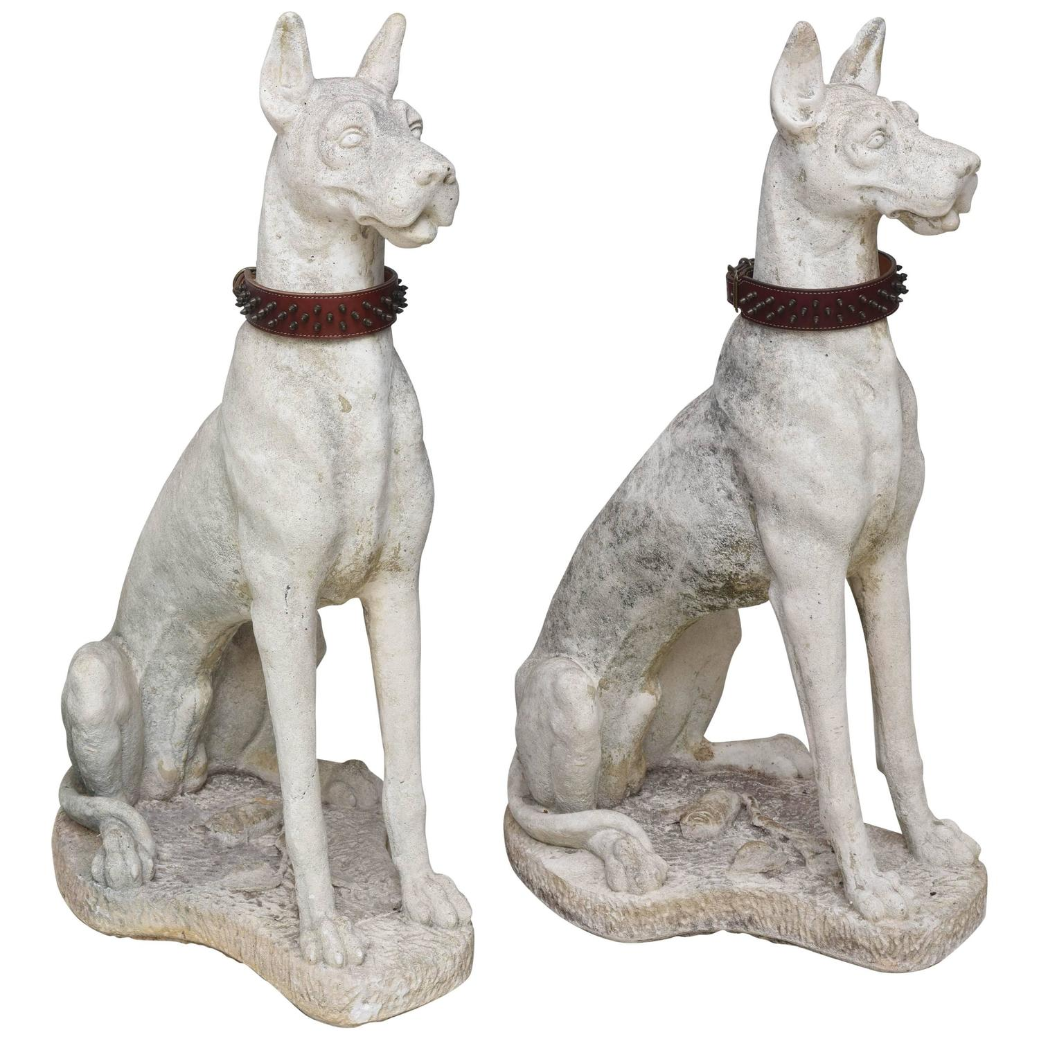Pair Of Large Great Dane Sculptures At 1stdibs