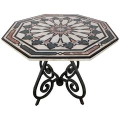 Vintage Italian Inlaid Marble-Top Center Table