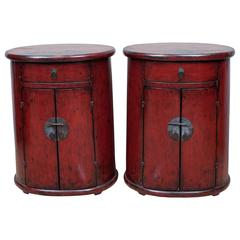 18th Century Pair of Chinese Cylindrical Night Stand Chests