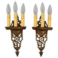 Antique Pair of 1920s Elegant Three-Light Sconces