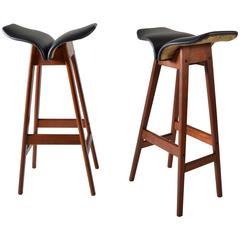 Pair of Rare, Early Teak Barstools Designed by Erik Buch