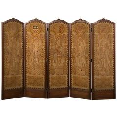 Régence Style Antique French Five-Panel Walnut Needlepoint Screen, circa 1875