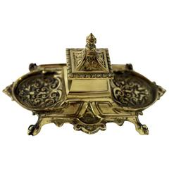 19th Century French Scrolled Repousse Inkwell