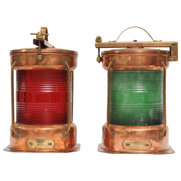 Pair of Port and Starboard Copper Ship's Navigational Lights, Midcentury For Sale