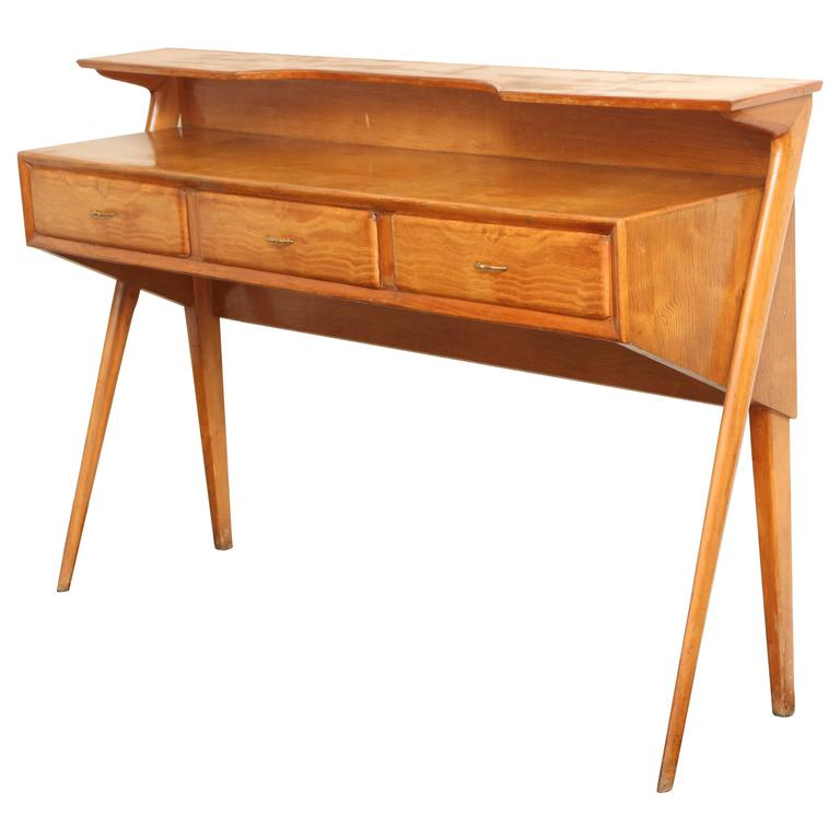 Italian Mid Century Modern Cherrywood Console Table For Sale