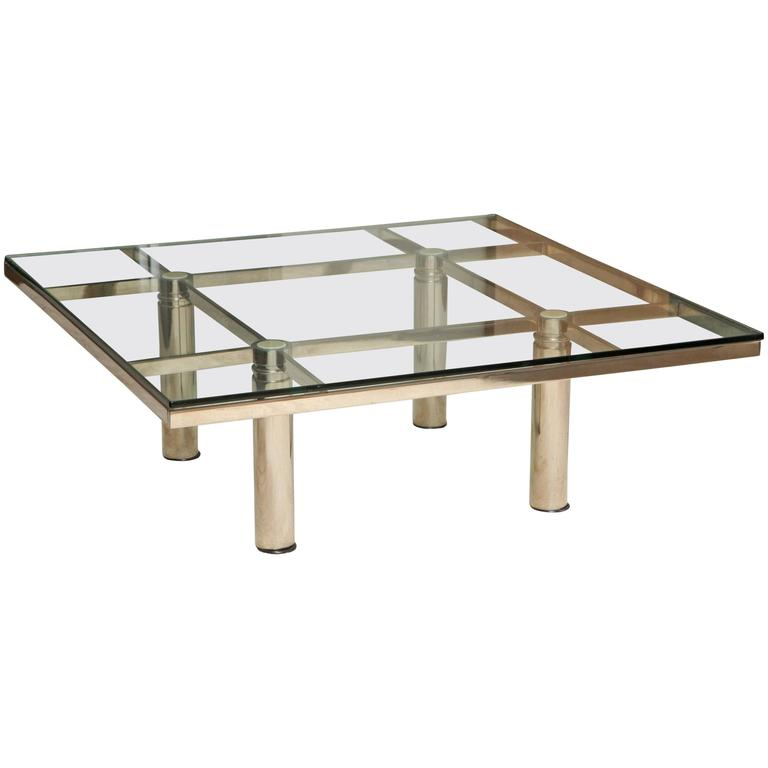 Andre Chrome And Glass Square Cocktail Table By Tobia