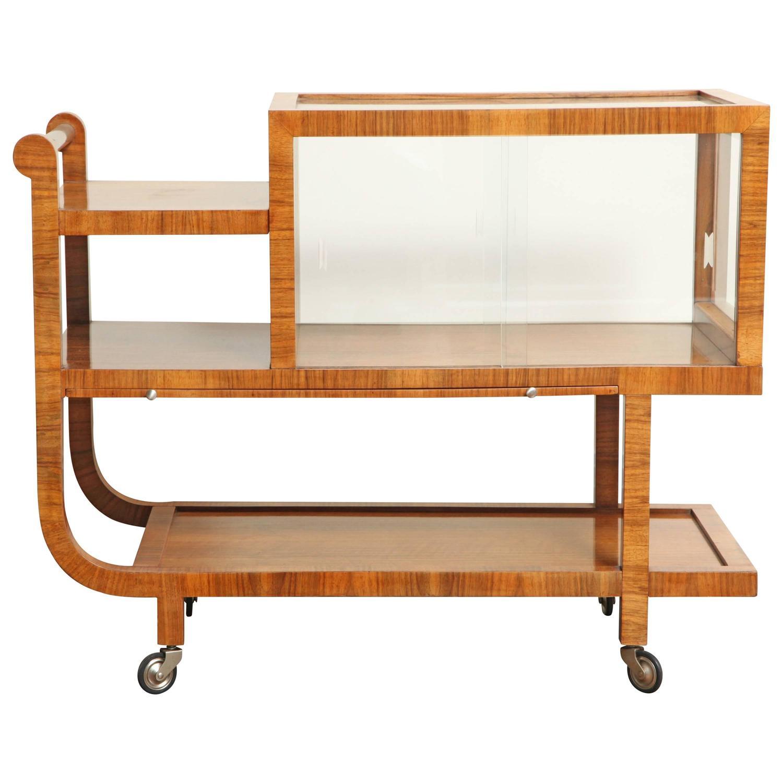 Art Deco Walnut Bar Cart At 1stdibs