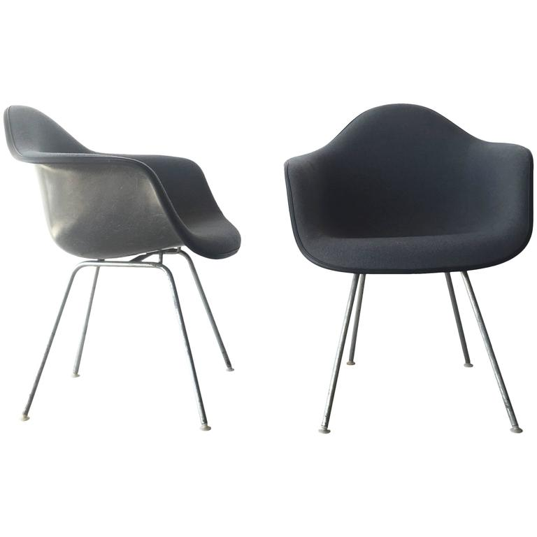 Pair Of Upholstered Eames Shell Chairs By Herman Miller