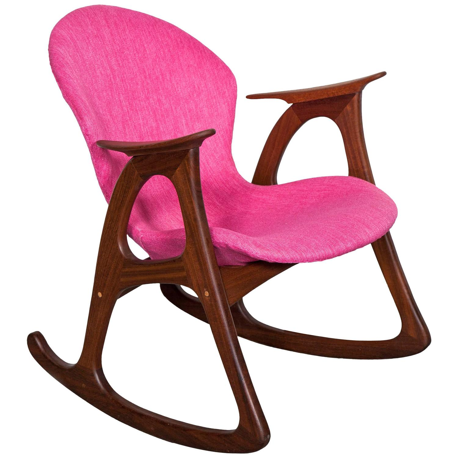 Charming Teak Rocking Chair By Aage Christiansen, Pink At 1stdibs
