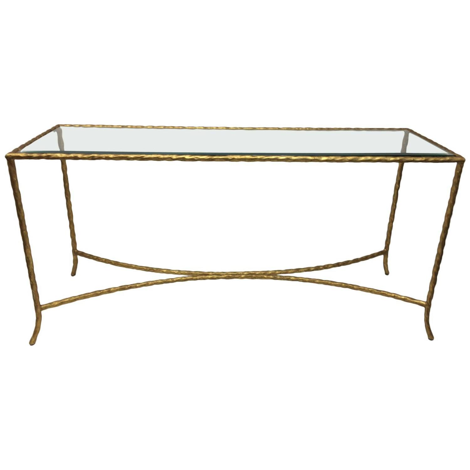 Currey and co gold rope metal console table at 1stdibs Metal console table